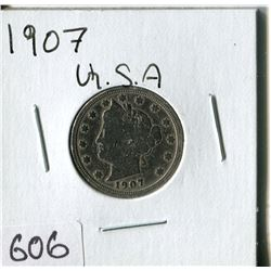 FIVE CENT COIN (USA, BARBER) *1907*