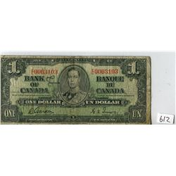ONE DOLLAR NOTE (BANK OF CANADA) *1937*