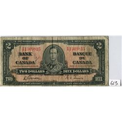 TWO DOLLAR NOTE (BANK OF CANADA) *1937*