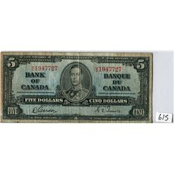 FIVE DOLLAR NOTE (BANK OF CANADA) *1937*