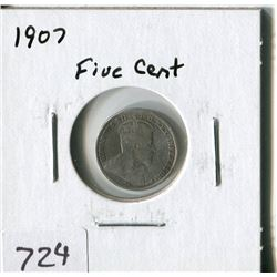 CANADA FIVE CENT COIN (1907)