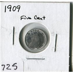 CANADA FIVE CENT COIN (1909)