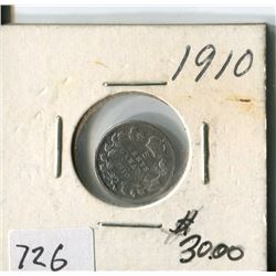 CANADA FIVE CENT COIN (1910)