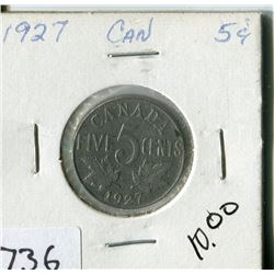 CANADA FIVE CENT COIN (1927)