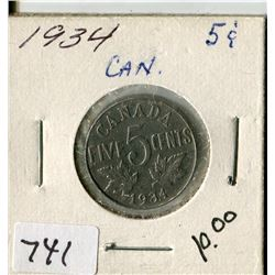 CANADA FIVE CENT COIN (1934)