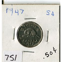 CANADA FIVE CENT COIN (1947)