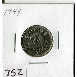CANADA FIVE CENT COIN (1949)