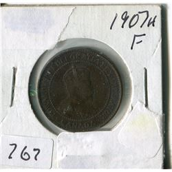 CANADA ONE CENT COIN (1907H)