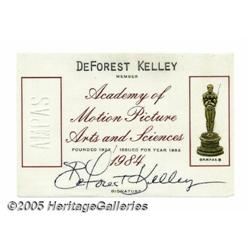 DeForest Kelley Academy Membership Card. This lot
