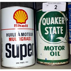 VINTAGE QUAKER STATE & SHELL OIL TINS