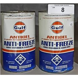 2 FULL VINTAGE GULF ANTIFREEZE QUARTS