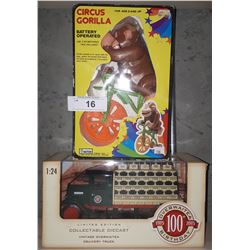 CIRCUS GORILLA(BATTERY OPERATED TOY) & OVERWAITEA DIE CAST TRUCK 1:24 SCALE
