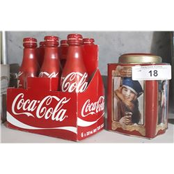 COCA-COLA COLLECTIBLE TIN W/6 PACK OF FULL  METAL COKE BOTTLES