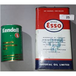 VINTAGE ESSO 1 GALLON TIN AND KENDALL ATF QUART