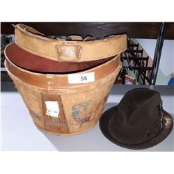 VINTAGE LEATHER HAT BOX WITH HAT