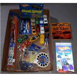 BOX OF ASSORTED HOT WHEELS, HOT WHEELS BOOKS, TRACK, MISC