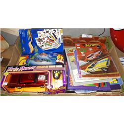 BOX LOT OF MISC VINTAGE HOT WHEELS COLOURING BOOKS, TOY CAR IN BOX, HOT WHEELS, ETC