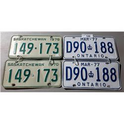 2 PAIRS OF VINTAGE LICENSE PLATES