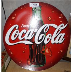 DOUBLE SIDED CARDBOARD COCA-COLA BUTTON SIGN