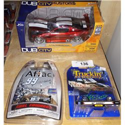 3 DIE CAST CARS, UNOPENED PACKAGES