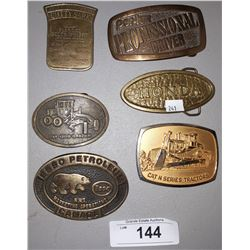 6 VINTAGE BRASS BELT BUCKLES