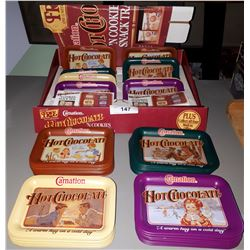CARNATION HOT CHOCOLATE TIN TRAY DISPLAY W/ TRAYS