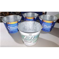 4 BUDWEISER METAL BEACH BUCKETS