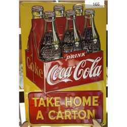 "COCA-COLA ""TAKE HOME A CARTON"" EMBOSSED TIN SIGN, MADE BY ANDE ROONEY"