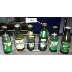 VINTAGE 6 PACK POP CARRIER W/FULL 7-UP, CANADA DRY, AND SCHWEPPES POP BOTTLES