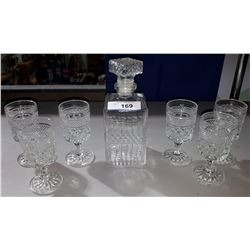 LIQUOR DECANTER AND 6 GLASSES