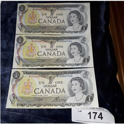 3 CONSECUTIVE 1973 $1 BILLS