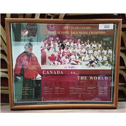 SIGNED WALTER GRETZKY 2002 TEAM CANADA OLYMPIC GOLD MEDAL FRAMED POSTER