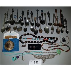 LOT OF ESTATE JEWELRY, STERLING SILVER SPOONS, AND COLLECTIBLES