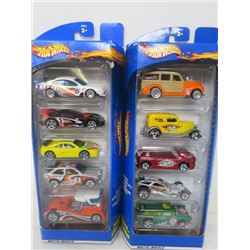 2 PACKS OF HOTWHEELS GIFT PACK VEHICLES (5/PACK, 10 VEHICLES TOTAL)