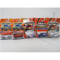 MATCHBOX 5 VEHICLE LOT (POLICE ROBOT TRUCK, 24-HOUR ROOFING, HUMMER, SNORKEL FIRE TRUCK, EXTENDING L