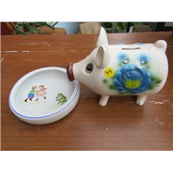 CHILD'S DISH AND PIGGY BANK