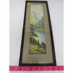 MOUNTAIN RIVER PAINTING (SIGNED M. THOMPSON) *IN FRAME*