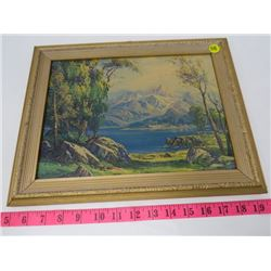 PRINT (LAKE AND MOUNTAIN PAINTING-SIGNED) *FRAMED*