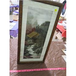 CABIN BY RIVER RAPIDS (AN OUTPOST OF EMPIRE) *A.E. GREGORY* (FRAMED)