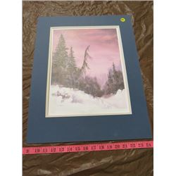 PAINTING (WINTER SUNSET-E. G. EHMAN) *NUMBERED 86/400* (UNFRAMED)
