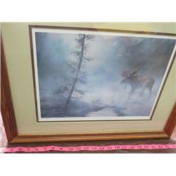 LOT OF 2 PICTURES (MOOSE) *MOUNTAIN LION* *NUMBERED 2130/3000, 2613/3000* (FRAMED) *SIGNED*