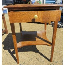 SMALL WOOD TABLE ( W/DRAWER) *TIGER OAK*