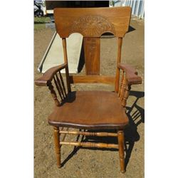 WOOD CHAIR (DINING ROOM ARMCHAIR) *PRESS BACK*