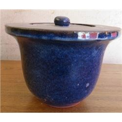 HEAVY BLUE POTTERY WITH LID