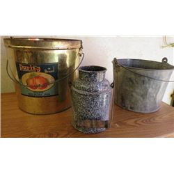 LOT OF 3 PAILS (2 LARGE TIN) *1 SMALL DAIRY*