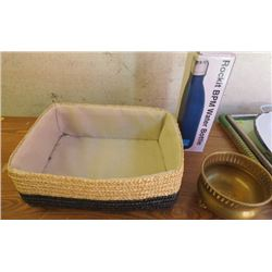 """LOT OF 3 MISC HOUSEHOLD (MATERIAL LINE REED BASKET 12"""" X 8.5"""" X 4"""") *BRASS CONTAINER 5""""H X 3.5"""" DIAM"""