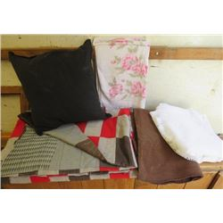 LOT OF MISC ITEMS (ROSE TOWEL, BROWN BLANKET, OLD QUILT, BLACK CUSHION, ETC)