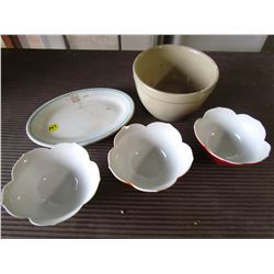 LOT OF ASSORTED DISHES (CERAMIC BOWL, CNR PLATE, ETC)