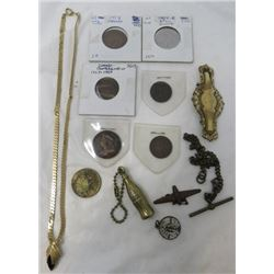 LOT OF MISC ITEMS (COINS, JEWELERY, KEY CHAINS, ETC)