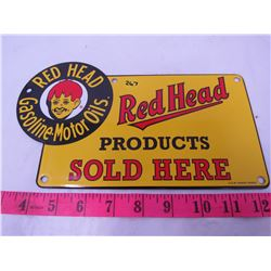 RED HEAD SIGN (PORCELAIN)